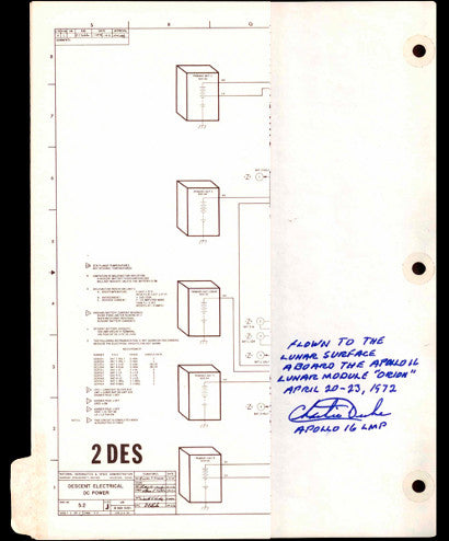 space-flown Apollo 16 Descent Electrical DC Power Schematic Page