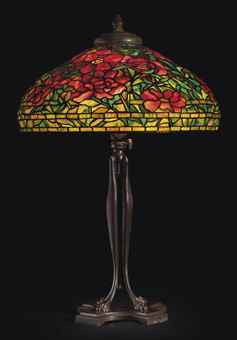 Tiffany glass and bronze table lamp