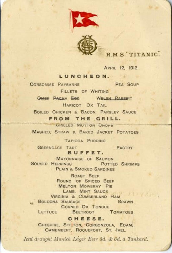 Rare Titanic Lunch Menu To Make 96 500 Paul Fraser