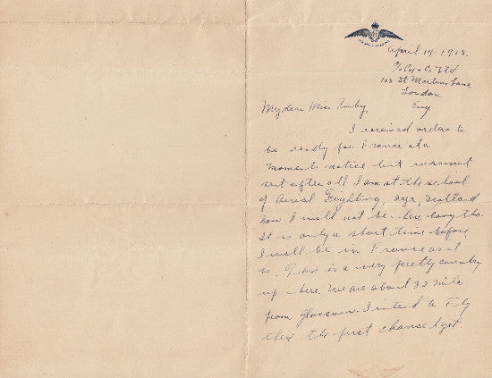 WW1 airman letters