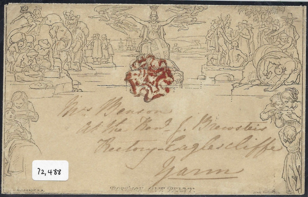 Great Britain 1840 1d Mulready envelope, Forme 2 stereo A151. SG ME2var