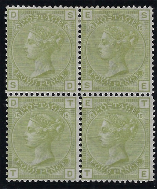 Great Britain 1877 4d Sage green Plate 15. SG153 PL15