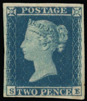 Great Britain 1851 2d violet blue plate 4, SG15aa.