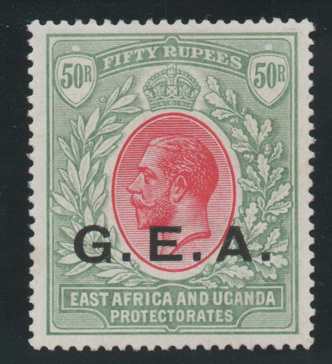 "Tanganyika 1917-21 ""German East Africa"" 50r carmine and green, watermark MCA"