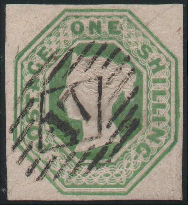 Great Britain 1854 1s. green embossed. SG55.
