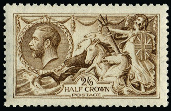 Great Britain 1915 King George V 2s6d yellow brown watermark reversed). SG406wi