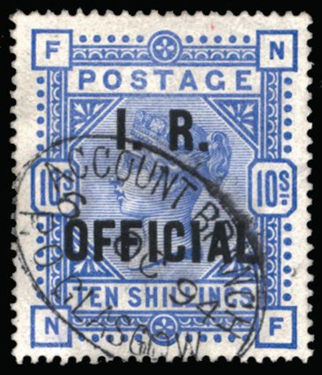 Great Britain 1890 10s ultramarine (I.R. Official), SGO10
