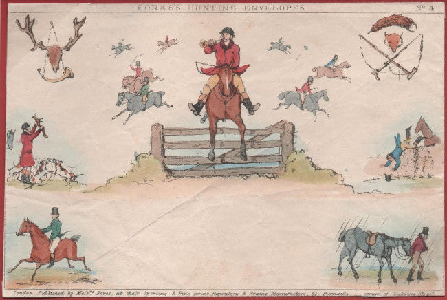 Great Britain 1840 Fores Number 4 Hunting Envelope-Handcoloured