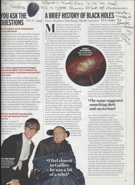 Stephen Hawking thumbprint-signed Radio Times