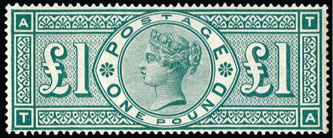 Great Britain 1891 £1 green plate 3, SG212.