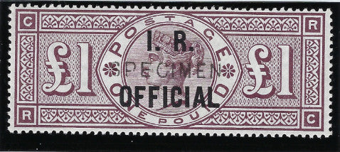 Great Britain 1890 £1 brown-lilac (I.R. Official, watermark Orbs), SGO12s.