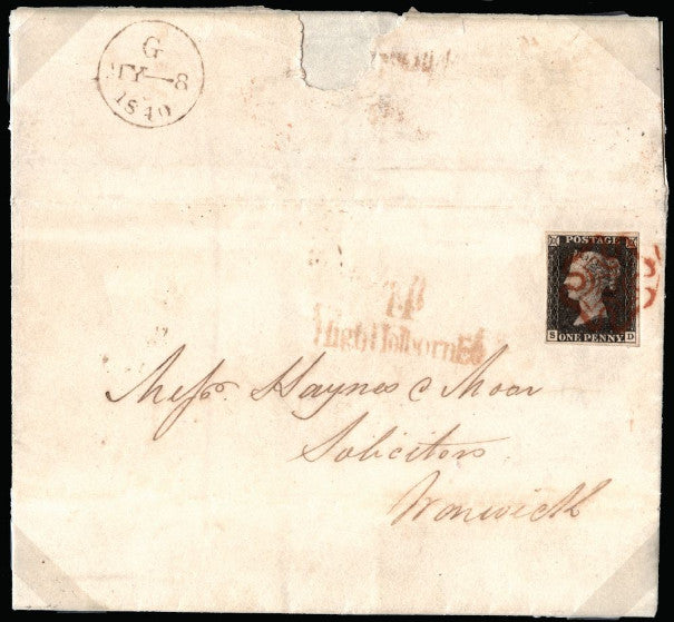 Great Britain 1840 1d intense black, Plate 1a SG1.