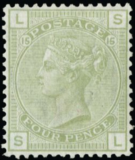 Great Britain 1877 Queen Victoria Surface Printed., 4d sage green, plate 15.  SG153.