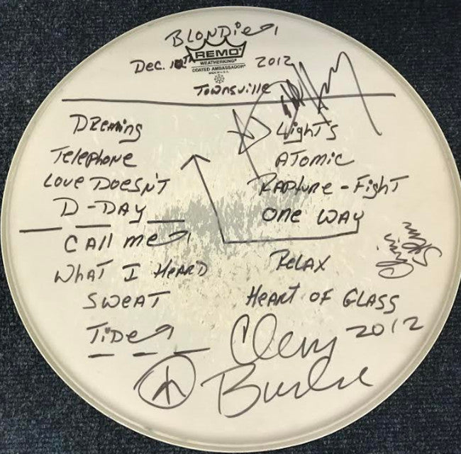 Blondie signed and concert used drum skin