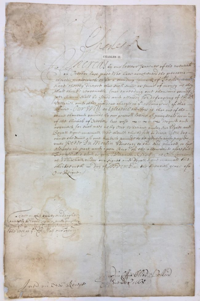 Charles II signed document