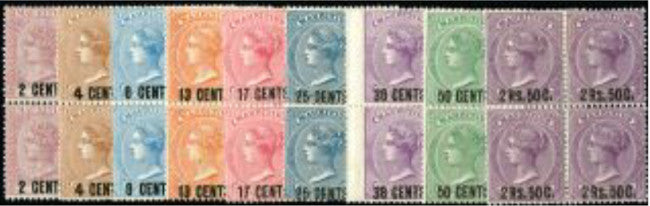 Mauritius 1878 (1 Jan) new currency surcharges set of 9 to 2r50 on 5s, in blocks of four. SG83/91