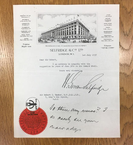 HG Selfridge typed signed letter