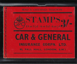 "Great Britain 1938 3s booklet ""Car & General Insurance Corpn. Ltd"", SGBD22."