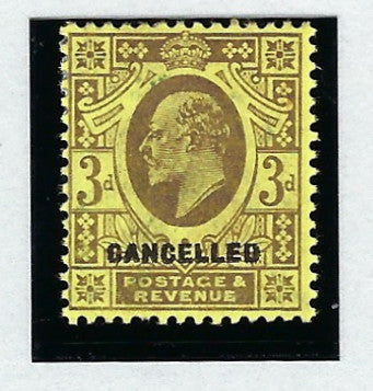 Great Britain 1902 3d pale purple/lemon (C), SG233bvar.