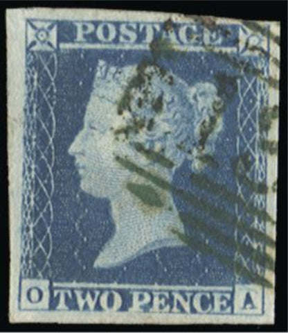 Great Britain 1841 2d blue plate 4 SG14.