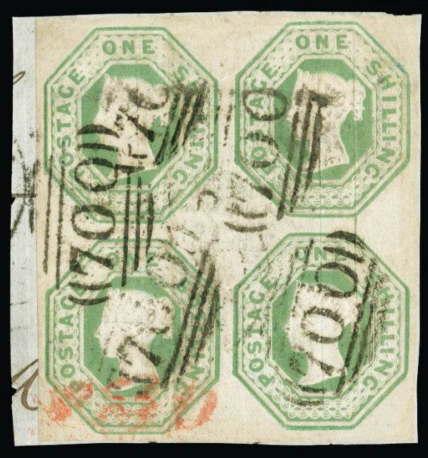 Great Britain 1854 1s pale green (Die W.W.2). SG54.