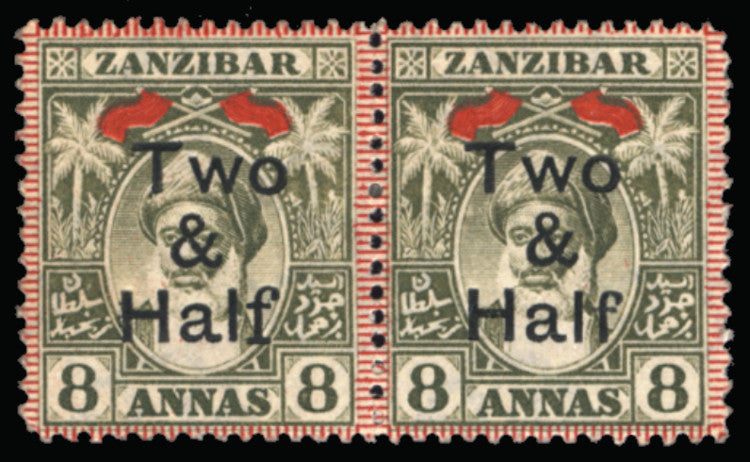 Zanzibar 1904 2+D20 on 8a Grey Olive, SG209b