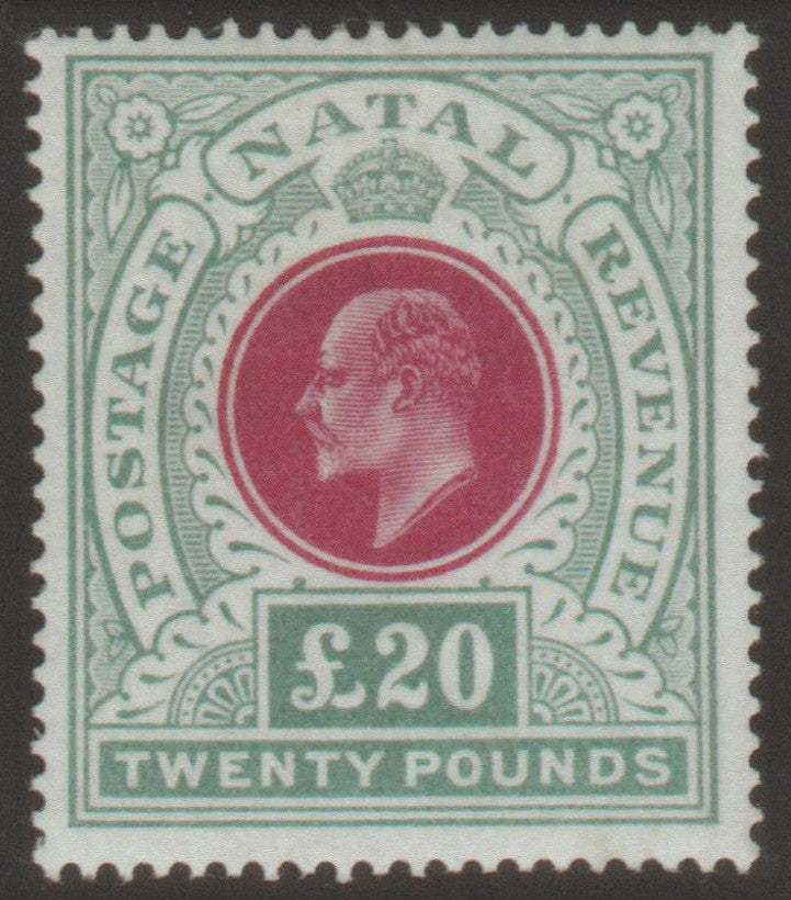 South Africa Natal 1902 £20 red and green