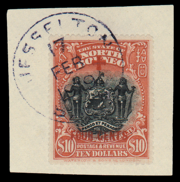 North Borneo 1918 (Oct) Red Cross $10 + 4c brick-red, SG252