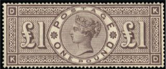 Great Britain 1884 Queen Victoria Surface Printed £1 brown-lilac, SG185.