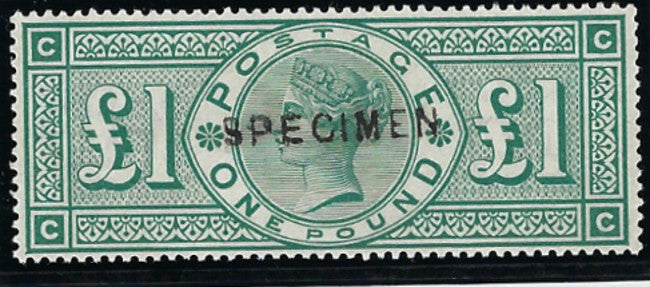 Great Britain 1891 £1 green, SG212s.