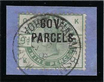 Great Britain 1883 9d dull green (Government Parcels), SGO63.