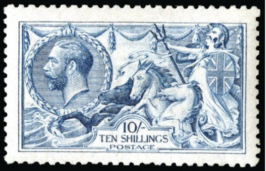 "Great Britain 1915 King George V 10s pale blue ""seahorse"". SG413"