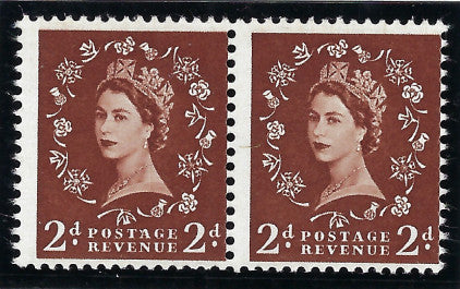 Great Britain 1958 Queen Elizabeth II 2d red brown