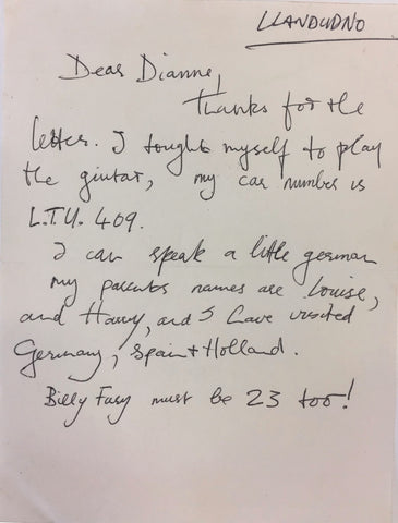 George Harrison unsigned handwritten letter to fan