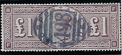 Great Britain 1888 Queen Victoria Surface Printed £1 brown lilac (watermark, Three Orbs), SG186.