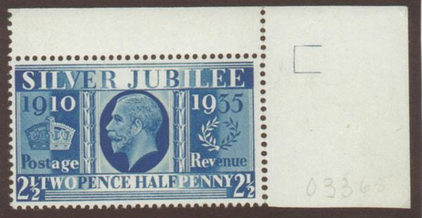 Great Britain 1935 Silver Jubilee 2½d Prussian Blue, SG456a.