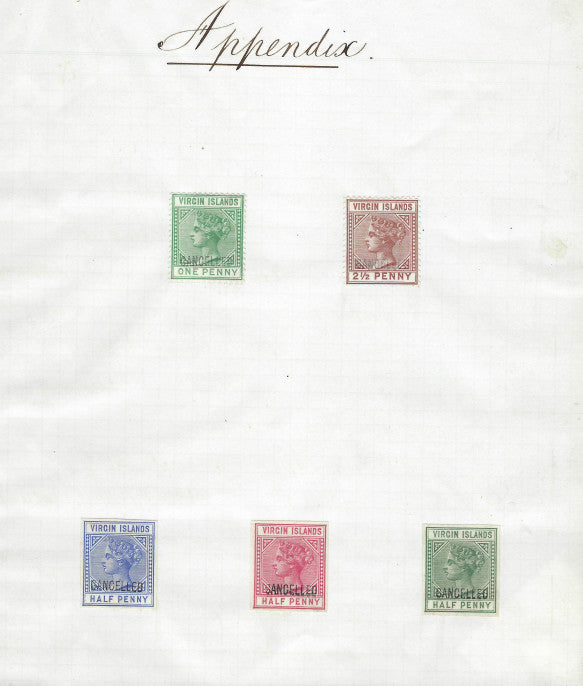 British Virgin Islands 1883 (28 Feb) colour scheme proofs