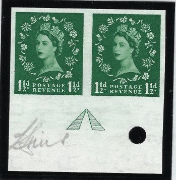 "Great Britain 1959 Queen Elizabeth II 1½d green ""Wildings"" Watermark St. Edmonds Crown Sideways)."