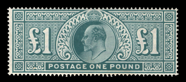 Great Britain 1902 King Edward VII £1 Dull blue green, SG266
