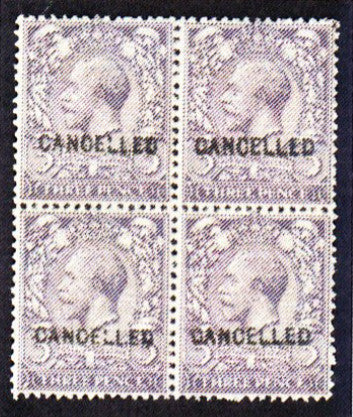 Great Britain 1912-24 King George V 3d violet (watermark Royal cypher). SG375var