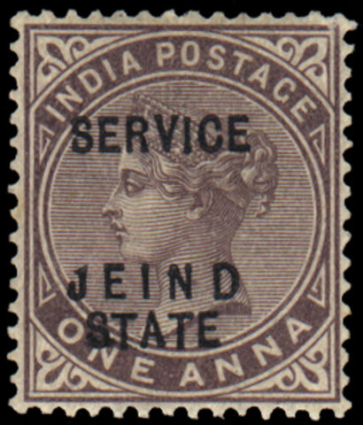 Indian Convention State Jind OFFICIAL 1886-1902 1a brown-purple, error 'JEIND', SGO13