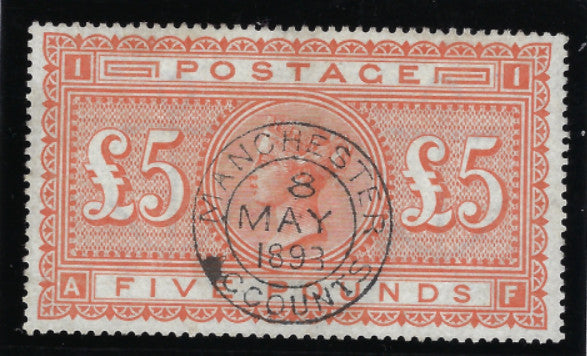 Great Britain 1883 Queen Victoria Surface Printed £5 orange plate 1. SG137.