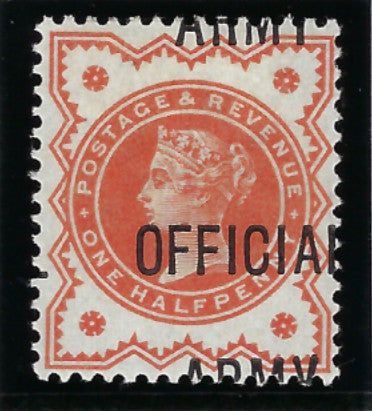Great Britain 1896 ½d vermillion (Army Official), SGO41b.