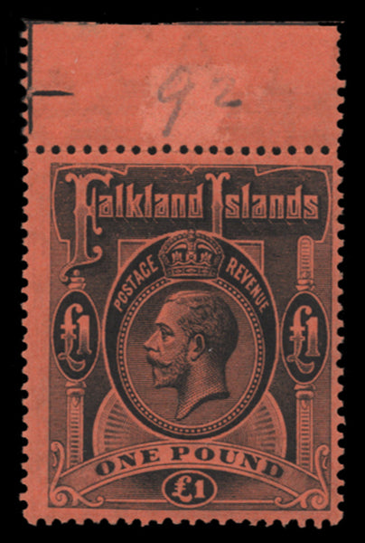 Falkland Islands 1912-20 £1 black/red, SG69