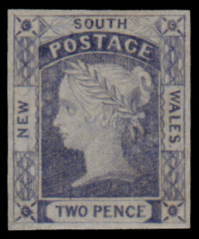 New South Wales 1851-55 'Laureate' 2d chalky blue, plate I, SG53