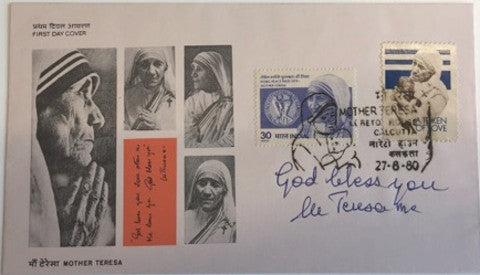 Mother Teresa signed first day Loreto House cover