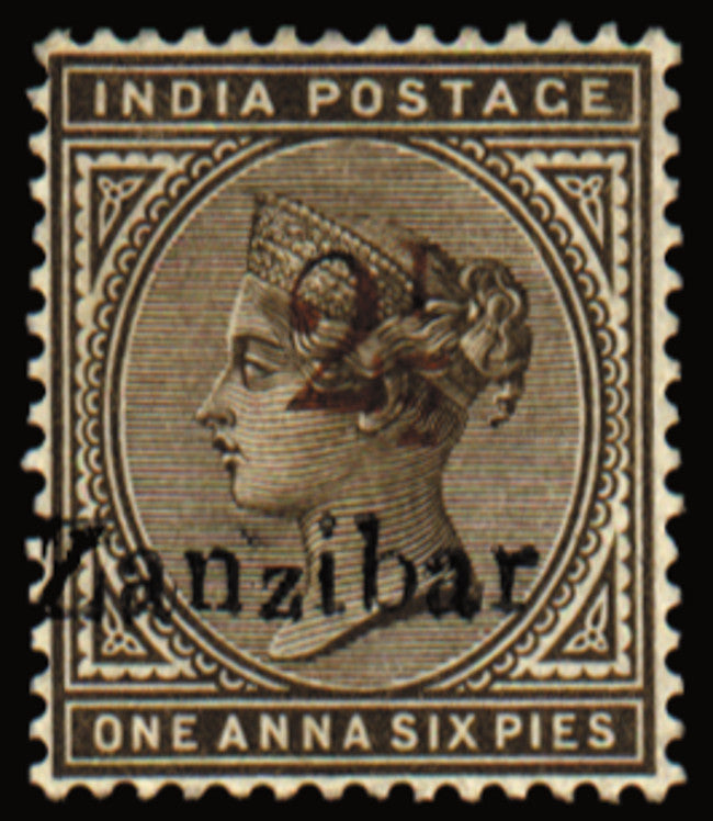 Zanzibar 1896 (15 Nov) '2½' (type 6) on 1½a sepia, SG29kvar