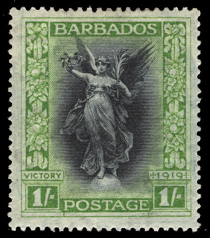 Barbados 1920-21 'Victory' 1s black and bright green, SG209a