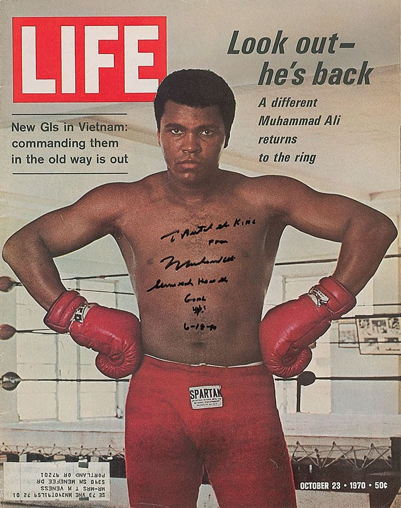 Muhammad Ali signed and inscribed Life Magazine Cover