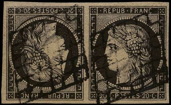 France 1849-52 20c black Ceres horizontal pair, SG23